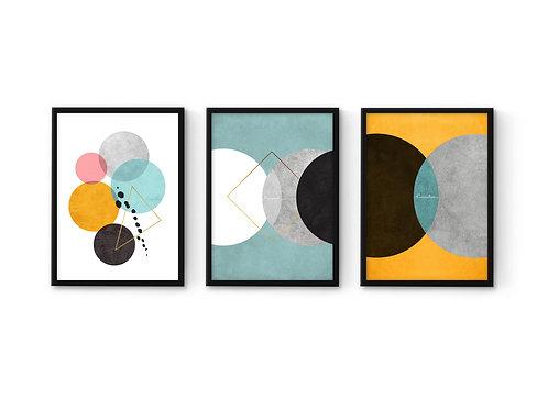 סט 3 הדפסים עיגולים, אמצעי מנטה - איסוף מיריד החלומות בלבד