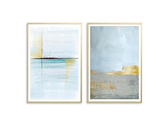 2 הדפסים אבסטרקט משיכות מכחול ואושן כחול אפור זהב