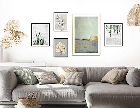 5 הדפסים אבסטרקט בוטני לקיר גלריה ירוק אפור זהב