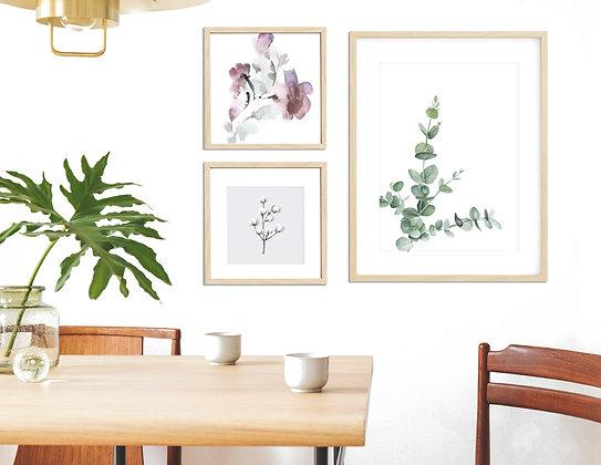 3 הדפסים כותנה אקליפטוס ופרחים בגדלים שונים