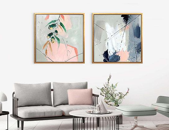 שני ציורי אבסטרקט 60/60 ס״מ //0025
