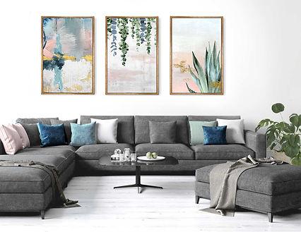 שלוש תמונות לסלון אבסטרקט בוטני מודפס על
