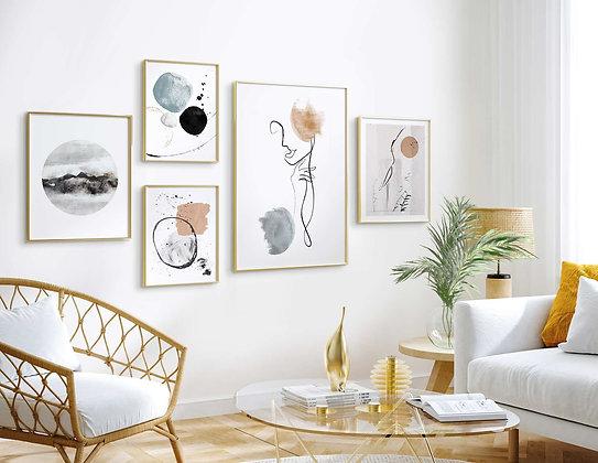 5 הדפסים קיר גלריה נורדי
