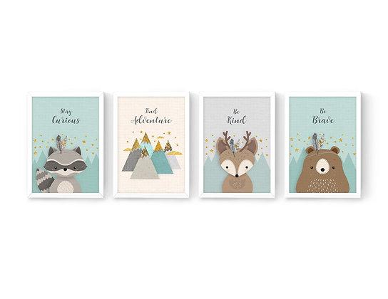 4 הדפסים חיות היער מנטה אפור שמנת