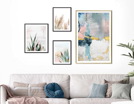 4 הדפסים לקיר גלריה מיקס אבסטרקט בוטני ורוד כחול ירוק