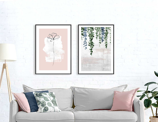 2 הדפסים בוטניים פרח ועלים אפור ורוד וכחול