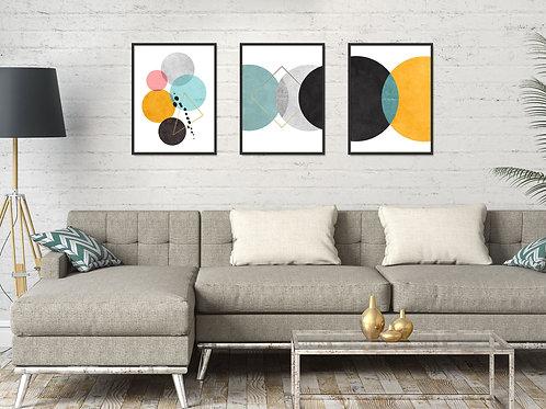 סט 3 הדפסים עיגולים, אמצעי מנטה, על רקע לבן - איסוף מיריד החלומות בלבד