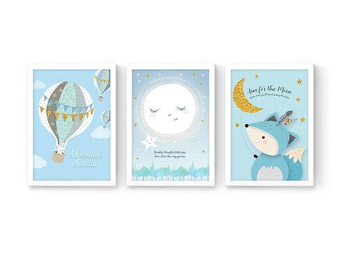 סט 3 הדפסים שועל ירח כוכב וכדור פורח כחול