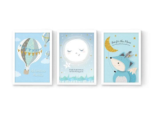 3 הדפסים שועל ירח כוכב וכדור פורח כחול