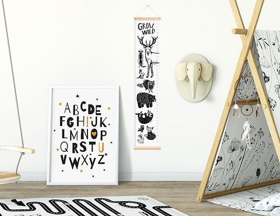 מד גובה נורדי Wild Animals קנבס עם לייסטים מעץ