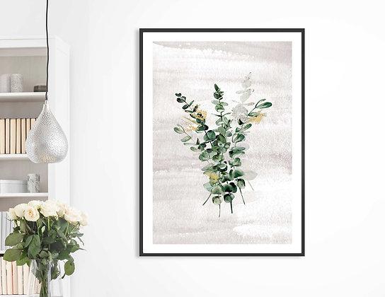 הדפס בוטני זר עלים ירוק אפור 002