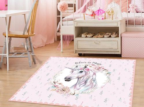 שטיח פיויסי יוניקורן פרחים ורוד