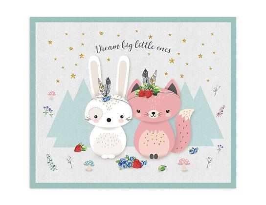 שטיח פיויסי מרובע חתולה וארנבון ורוד מנטה
