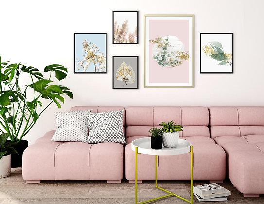 5 הדפסים לקיר גלריה בוטני ורוד כחול ירוק אפור זהב