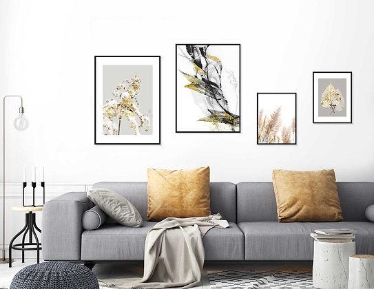 4 הדפסים בוטניים לקיר גלריה שחור אפור זהב