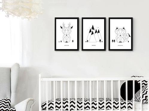 סט 3 הדפסים חיות אוריגמי שחור לבן