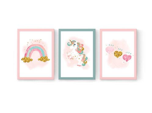 סט 3 הדפסים יוניקורן לבבות וקשת ורוד-מנטה