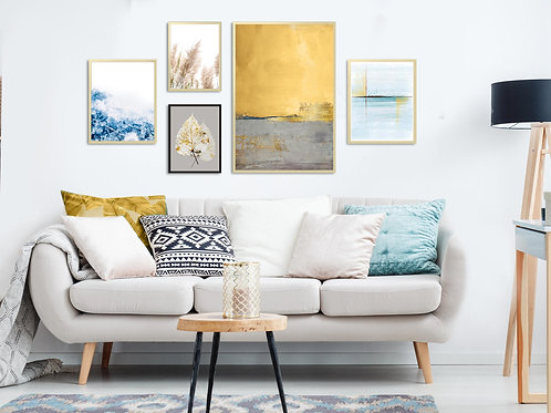 5 הדפסים לקיר גלריה צהוב כחול אפור זהב