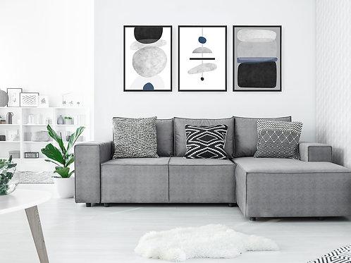 סט 3 הדפסים אבסטרקט שנדליר שחור אפור כחול