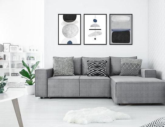 3 הדפסים אבסטרקט שנדליר שחור אפור כחול