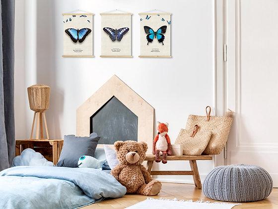 3 קנבסים פרפרים עם לייסטים מעץ