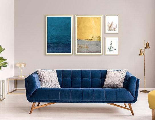 4 הדפסים לקיר גלריה כחול צהוב חרדל אפור זהב