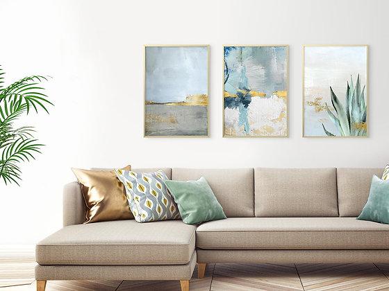 3 הדפסים מיקס אבסטרקט בוטני כחול אפור זהב