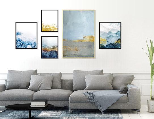 5 הדפסים לקיר גלריה כחול אפור זהב