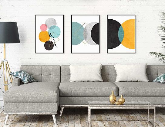 3 הדפסים אבסטרקט עיגולים אמצעי מנטה על רקע לבן
