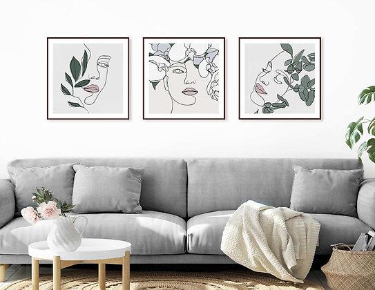 3 הדפסים ריבועיים בוטני נשים ורוד ירוק אפור