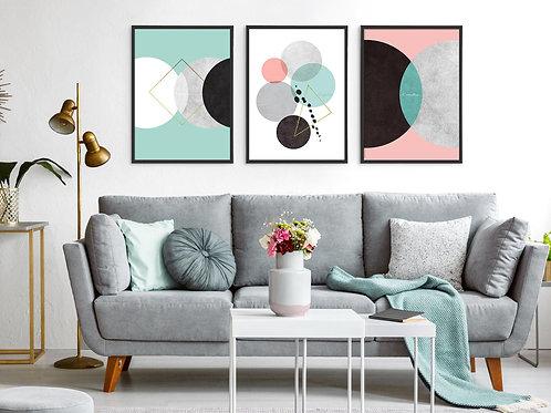 סט 3 הדפסים עיגולים צבעי פסטל