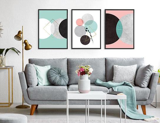3 הדפסים אבסטרקט עיגולים צבעי פסטל