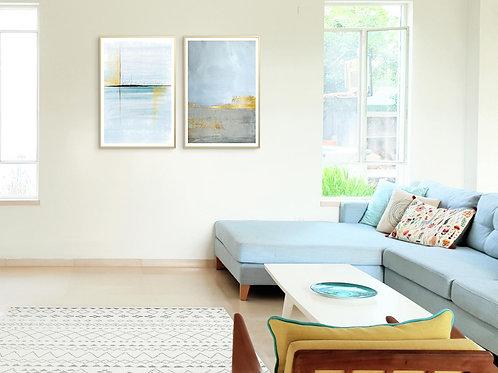 שני הדפסים אבסטרקט משיכות מכחול ואושן כחול אפור זהב - איסוף מיריד החלומות בלבד