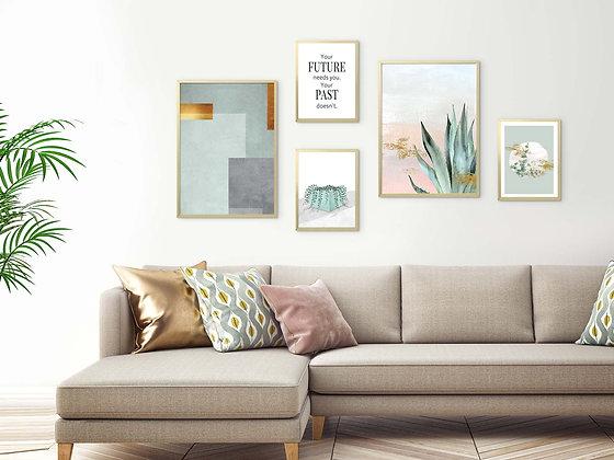 5 הדפסים לקיר גלריה אבסטרקט בוטני ורוד ירוק