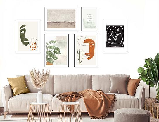 6 הדפסים לקיר גלריה טרקוטה ירוק