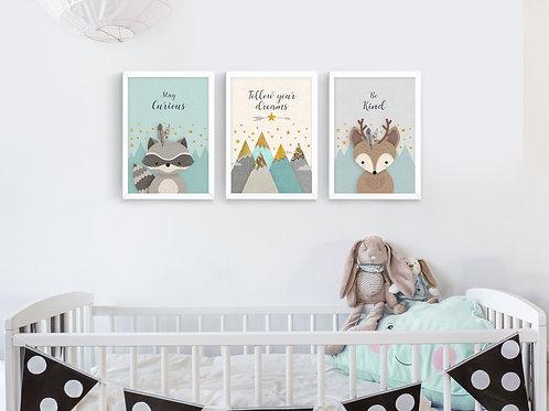 סט 3 הדפסים חיות היער מנטה אפור שמנת