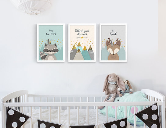 3 הדפסים חיות היער מנטה אפור שמנת