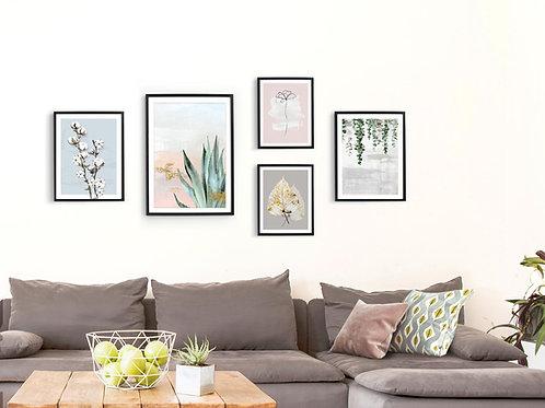 סט 5 הדפסים בוטניים לקיר גלריה ורוד כחול ירוק אפור זהב 002