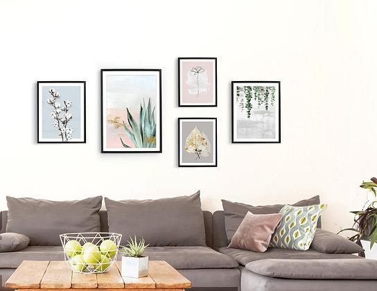 5 הדפסים בוטניים לקיר גלריה ורוד כחול ירוק