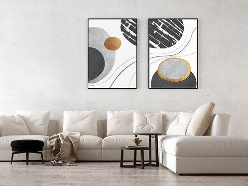 שני הדפסים עיגולים אמורפיים שחור זהב לבן - איסוף מיריד החלומות בלבד