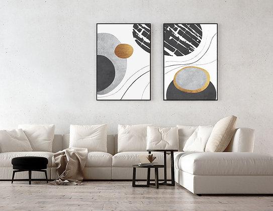 2 הדפסים עיגולים אמורפיים שחור זהב לבן