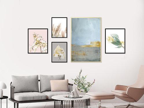 סט 5 הדפסים לקיר גלריה ורוד כחול אפור זהב