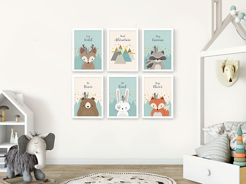 סט 6 הדפסים חיות היער מנטה ושמנת