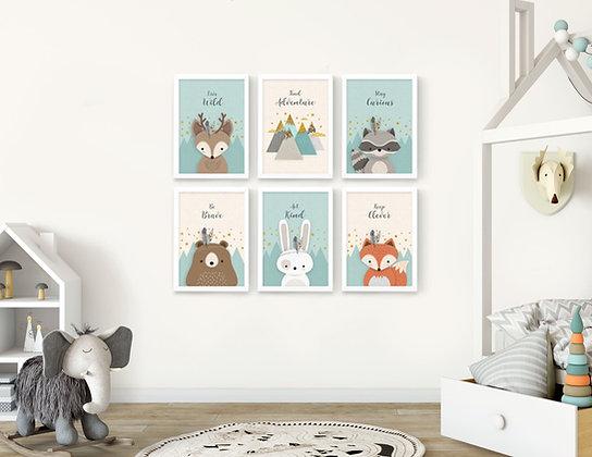 6 הדפסים חיות היער מנטה ושמנת שועל ארנב