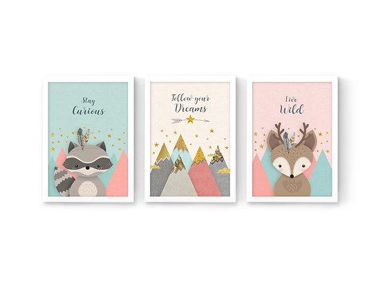 3 הדפסים חיות היער אייל דביבון ורוד מנטה שמנת
