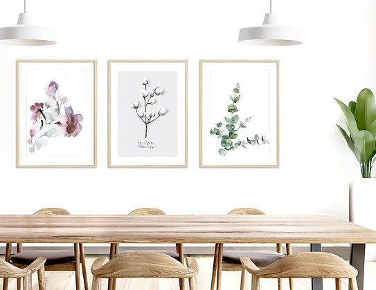 3 הדפסים בוטניים עלה כותנה אקליפטוס ופרחים
