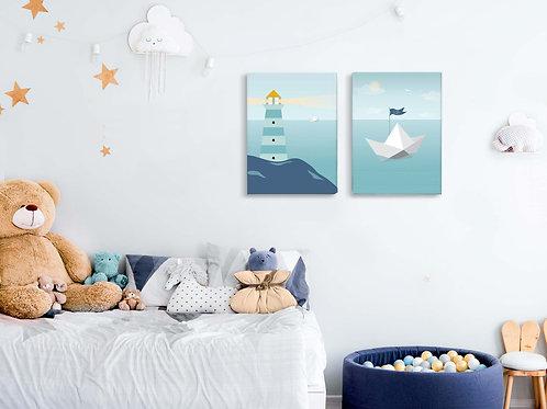 סט 2 קנבסים little sailor מנטה כחול