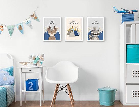 3 הדפסים חיות היער כחול נייבי אפור שמנת