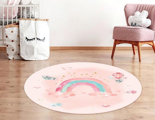 שטיח פיויסי עגול בורוד או כחול-טורקיז Rainbow