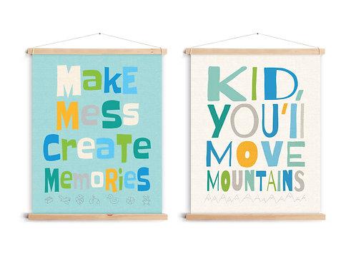 שני קנבסים ציטוטי השראה לילדים עם לייסטים עץ